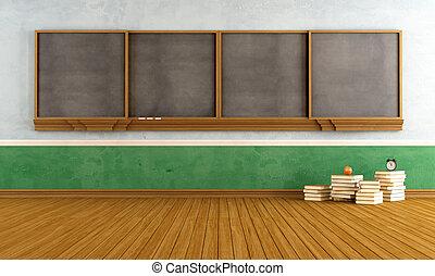 klaslokaal, lege, ouderwetse
