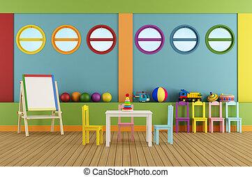 klaslokaal, lege, preschool