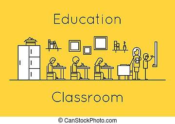 klaslokaal, lijn, concept, opleiding, mager