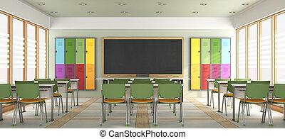klaslokaal, moderne, lege