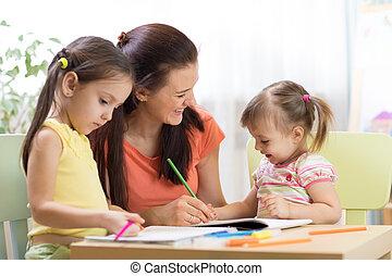klaslokaal, preschool, kinderen, werkende , leraar