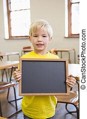 klaslokaal, pupil, schattig, vasthouden, chalkboard