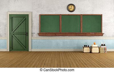 klaslokaal, retro, lege