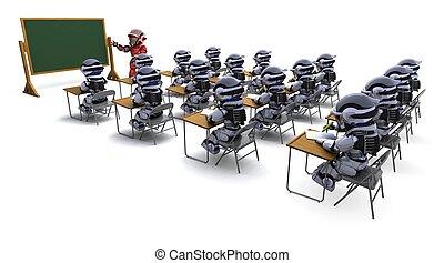 klaslokaal, robot, leraar