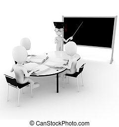 klaslokaal, scholieren, -, 3d, leraar, man