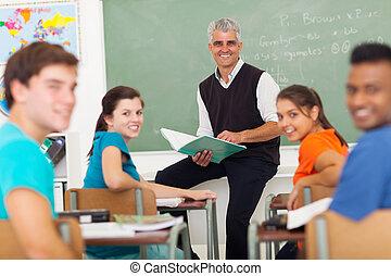 klaslokaal, scholieren, de leraar van de school, hoog