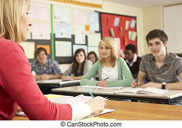 klaslokaal, scholieren, tiener, leraar, studerend