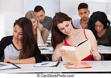 klaslokaal, scholieren, vrolijke , vrouwlijk, studerend