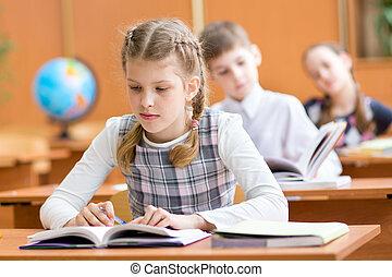 klaslokaal, school geitjes, les