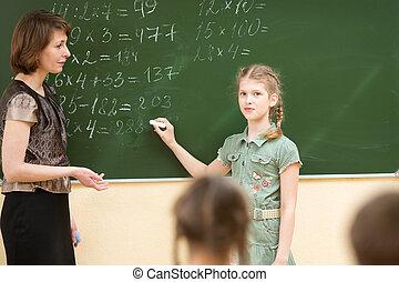 klaslokaal, school geitjes, les, wiskunde