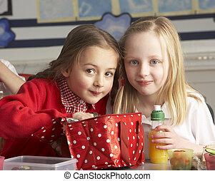 klaslokaal, school, leerlingen, primair, etentje, het genieten van, ingepakte