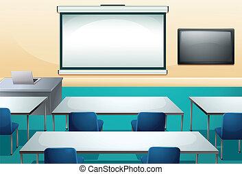 klaslokaal, schoonmaken, ogranized