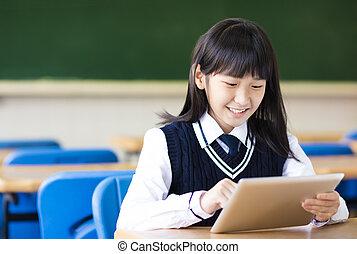 klaslokaal, student, tablet, mooi meisje, vrolijke
