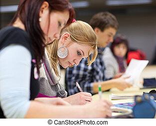 klaslokaal, student, zittende vrouw, universiteit, mooi