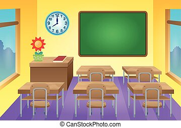 klaslokaal, thema, beeld, 1