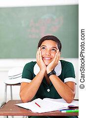 klaslokaal, tiener, dagdromen, meisje