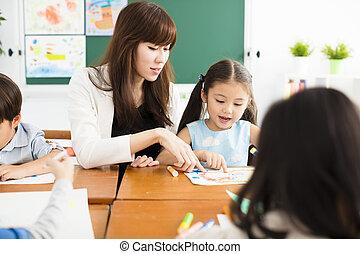 klaslokaal, vrolijke , tekening, kinderen, leraar