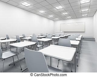 klaslokaal, witte , moderne