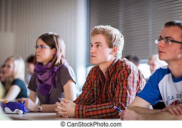 klaslokaal, zittende , scholieren, universiteit, gedurende, stand