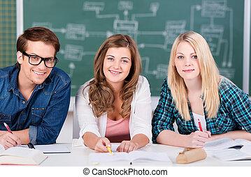 klaslokaal, zittende , scholieren, zeker, terwijl, vrouwlijk, verticaal, tafel, het glimlachen, mannelijke