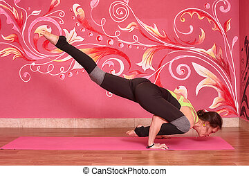 klasse, frau, joga, fitness, oder, übung