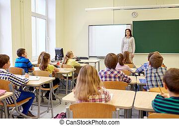 klassenzimmer, bilden kinder, gruppe, lehrer