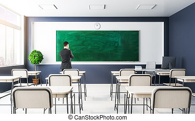 klassenzimmer, geschäftsmann, inneneinrichtung, modern