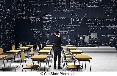 klassenzimmer, geschäftsmann, modern