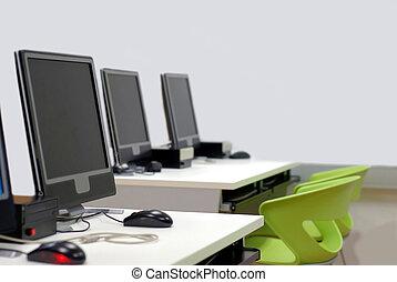klassenzimmer, inneneinrichtung, computerzimmer, wi