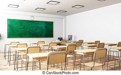 klassenzimmer, inneneinrichtung, modern, seite