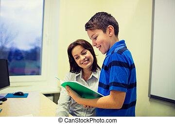 klassenzimmer, junge, schule, notizbuch, lehrer
