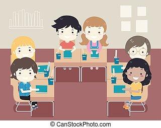 klassenzimmer, kinder, schueler, abbildung, sitz