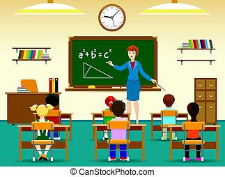 klassenzimmer, kinder, sitzen
