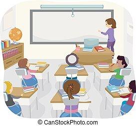 klassenzimmer, kinder, stickman, jüdisch, kugel, joga, stuhl