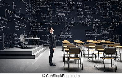klassenzimmer, modern, mann
