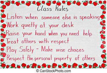klassenzimmer, regeln