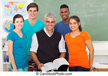 klassenzimmer, schule, studenten, hoch, älter, lehrer