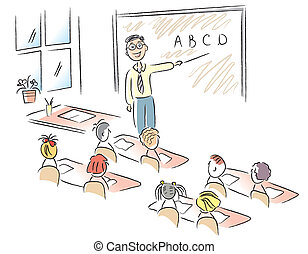 klassenzimmer, schule, vektor, kinder, lehrer