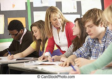 klassenzimmer, studenten, jugendlich, lehrer, studieren