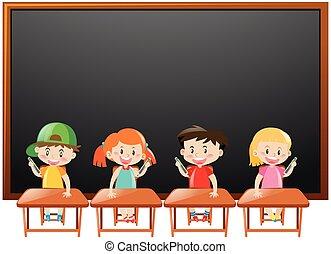 Schultafel clipart leer  Clipart Vektorbild von klassenzimmer, kinder, tafel, freigestellt ...