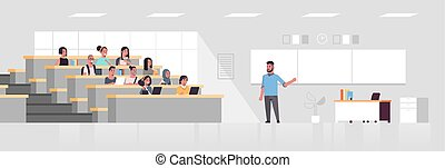 klassenzimmer, wohnung, begriff, universität, sitzen, studenten, aus, modern, mann, professor, länge, voll, hochschule, tafel, zuhören, inneneinrichtung, vortrag, horizontal, bildung, halle