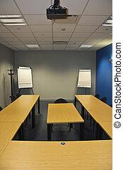 klassenzimmer, zimmer, modern, schnellen, versammlung, oder, leerer , bretter