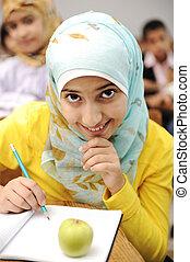 klasseværelse, aktiviteter, skole, lærdom, undervisning, børn, glade