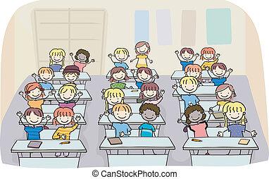 klasseværelse, børn, pind