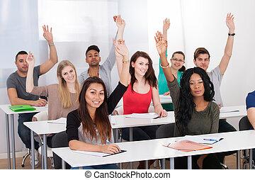 klasseværelse, studerende, læreanstalt, rejsning, hænder