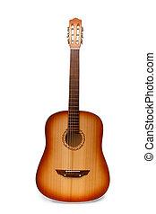 klassiek, akoestische guitar, vrijstaand, op wit