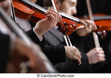 klassiek, music., violinists, in, concert