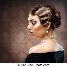 klassiek, retro stijl, portrait., romantische, beauty., ouderwetse
