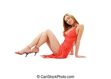klassiek, rode jurk, vastspeldt-op, meisje, #2