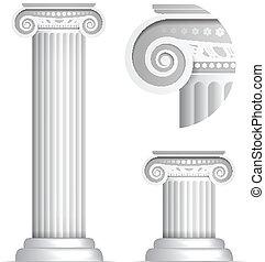 klassiek, zuil, griekse , romein, ionisch, of